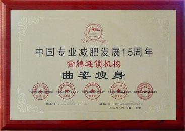中国专业减肥发展15周年金牌连锁机构
